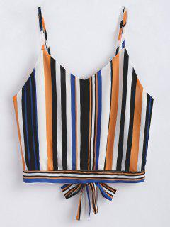 Cropped Tied Striped Tank Top - Multi S