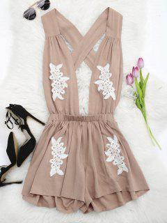Halter Floral Patched Open Back Romper - Yellowish Pink L