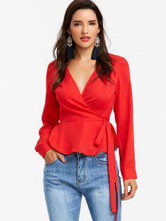 Blusa Peplum Con Cuello En V - Rojo L