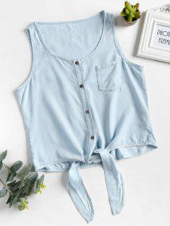 Button Up Chambray Scoop Tank Top - Jeans Blue L