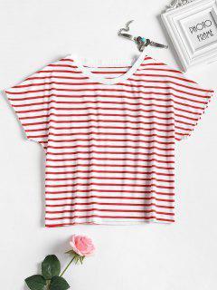 Camiseta De Rayas Ajustada - Amo Rojo M