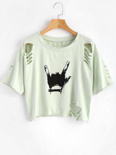 T-shirt Découpé à Geste - Jade Léger Xl
