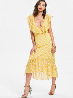 Polka Dot Ruffle Midi Dress - Corn Yellow M