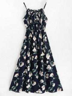 Sleeveless Floral Maxi Dress - Blue L