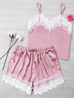 Lace Satin Cami And Shorts Set - Pink Xl