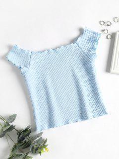 Jacquard Knit Off The Shoulder Top - Light Sky Blue M