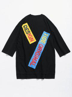 T-shirt Asymétrique Décoré à Fente Latérale - Noir S