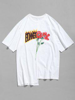 Asymmetrisches Blumen-Buchstabe-Druck-T-Shirt - Weiß Xl