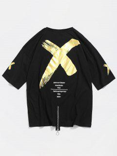 Cross Print Cotton Zip T-shirt - Black M