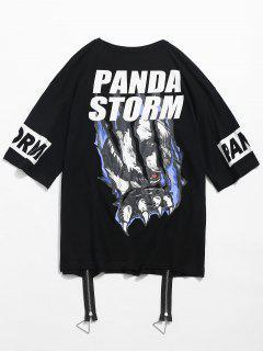 Animal Pattern Front Zip T-shirt - Black L