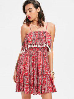Tassel Ruffle Cami Dress - Red S
