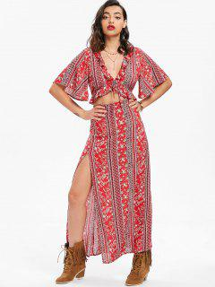 Cutout Bohemian Maxi Dress - Red L