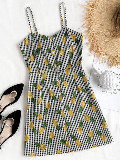 Gingham Pineapple Mini Pinafore Dress - Black M
