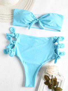Riemchen Seitlicher Hohes Tailliertes Bikini-Set - Robin Ei Blau L