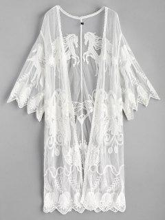 Scalloped Embroidered Kimono - White