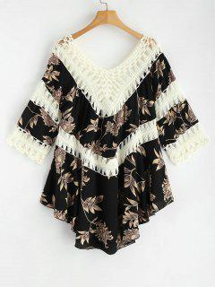 Floral Crochet Panel Tunic Dress - Black