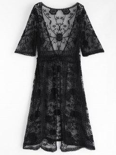 Kimono Bordado Delantero - Negro
