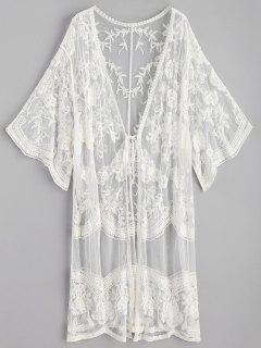 Embroidered Long Kimono - White