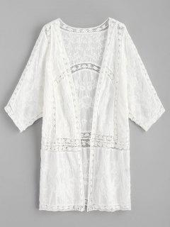 Kimono Brodé à Empiècement En Crochet - Blanc
