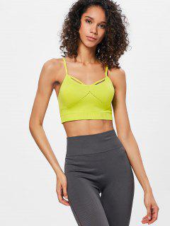 Eyelet Padded Sports Bra - Slime Green L