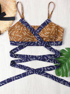 Print Wrap Crop Cami Top - Pearl Kumquat L
