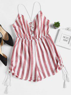 Striped Criss Cross Strappy Plunge Romper - Red M
