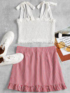 Smocked Tank Top And Gingham Skirt Set - Red S