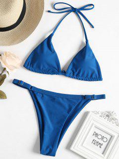 Adjustable String Thong Bikini - Blue Eyes S