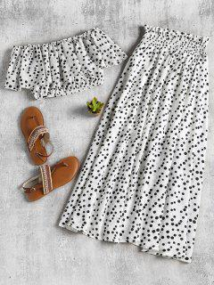 Polka Dot Crop Top And Skirt Set - White M