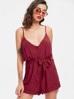 Belted Button Up Romper - Red Wine Xl