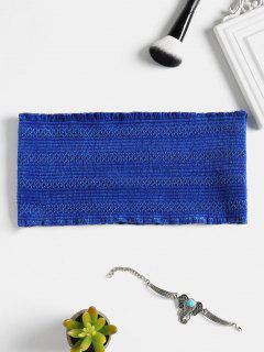 Top Tube Smocké En Velours - Bleu Saphir L
