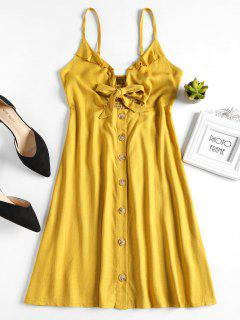 Tie Front Mini A Line Dress - Mustard L