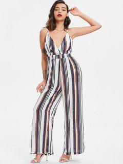 Knotted Stripes Jumpsuit - Midnight Blue L