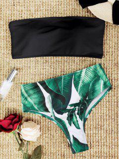 Palm Leaf Strapless High Cut Bikini Set - Black M