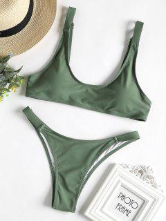 Caged Bralette Bikini Set - Dunkles Meergrün L