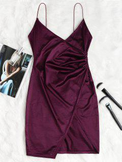 Cami Draped Crossover Slip Dress - Plum Velvet L