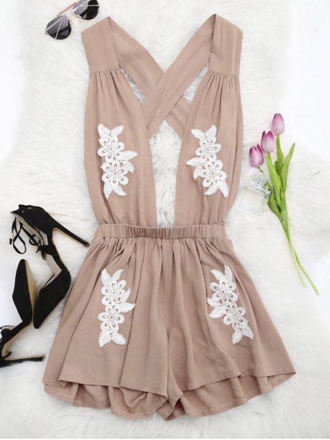 fashion Halter Floral Patched Open Back Romper - YELLOWISH PINK M Mobile