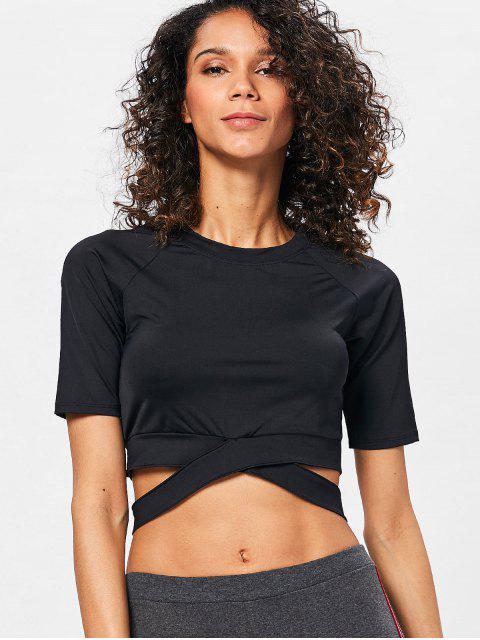 fancy Run Yoga Crop Top - BLACK L Mobile