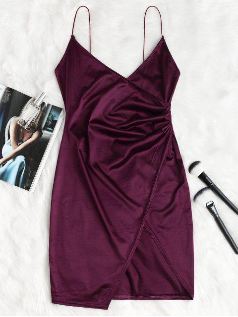 chic Cami Draped Crossover Slip Dress - PLUM VELVET L Mobile