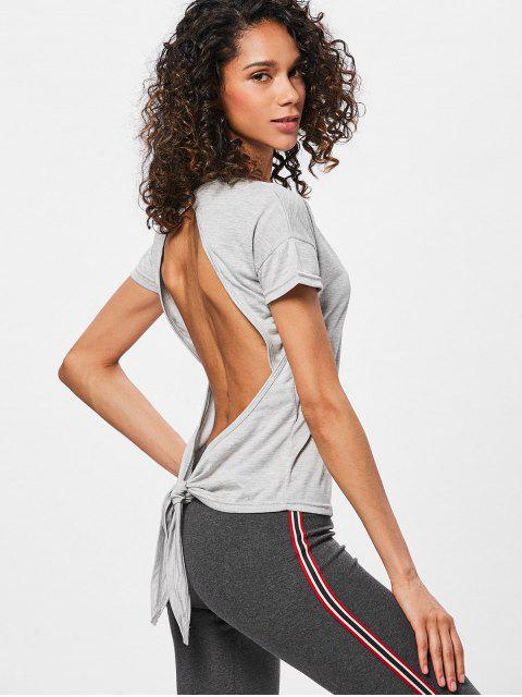 fashion Knotted Backless Sport T-shirt - LIGHT GRAY M Mobile