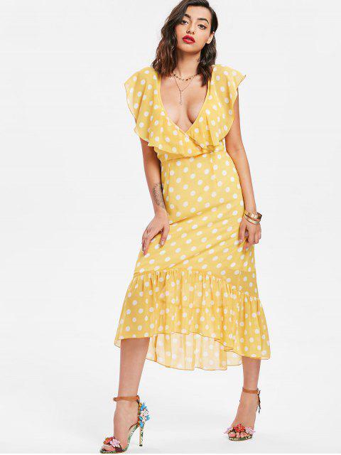 latest Polka Dot Ruffle Midi Dress - CORN YELLOW XL Mobile