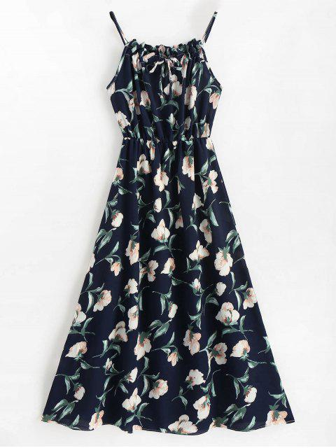 trendy Sleeveless Floral Maxi Dress - BLUE L Mobile