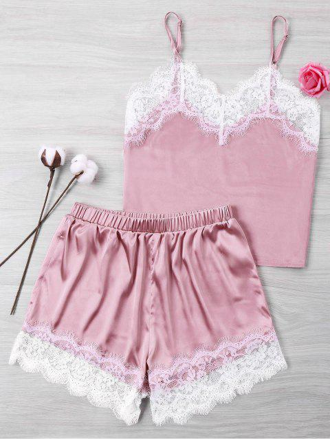 chic Lace Satin Cami And Shorts Set - PINK XL Mobile