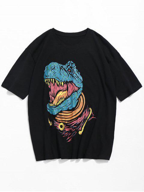 T-shirt à manches courtes imprimé dinosaures - Noir S Mobile