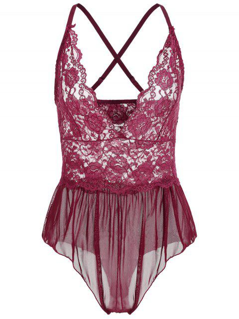 Lace and Mesh Crotchless Teddy - Vino Tinto M Mobile