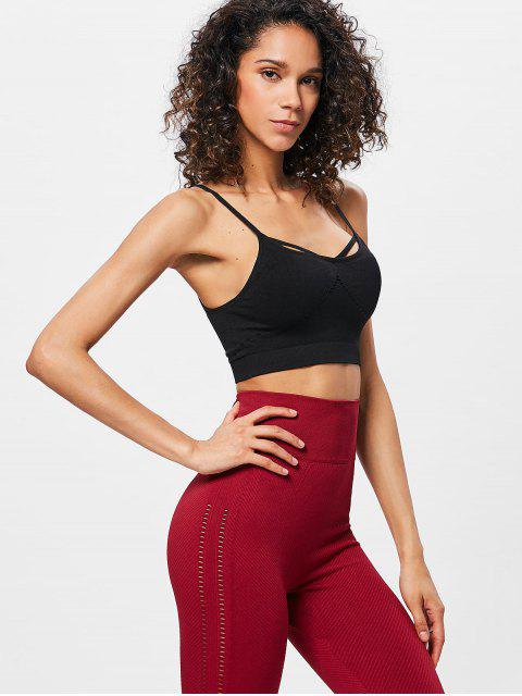 unique Eyelet Padded Sports Bra - BLACK L Mobile