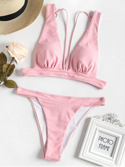 Conjunto de bikini con tiras de tiras - Cerdo Rosa S Mobile