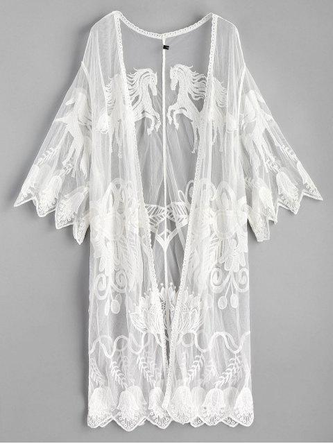 latest Scalloped Embroidered Kimono - WHITE ONE SIZE Mobile
