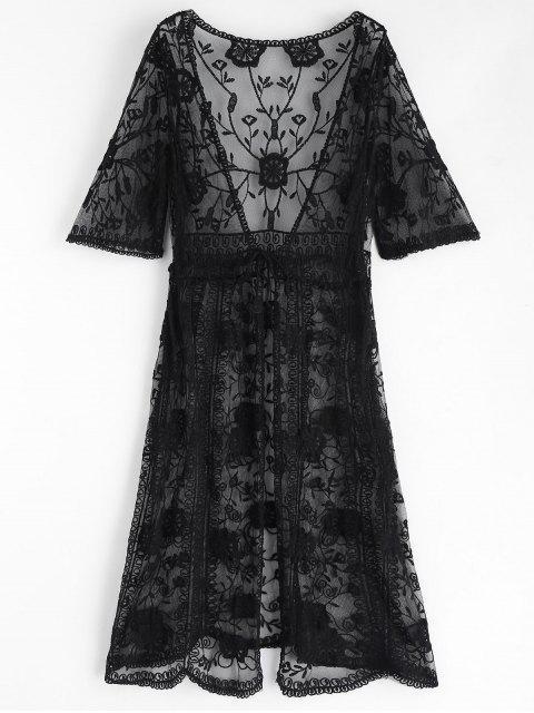 chic Tie Front Embroidered Kimono - BLACK ONE SIZE Mobile
