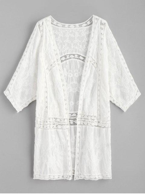 unique Crochet Panel Embroidered Kimono - WHITE ONE SIZE Mobile